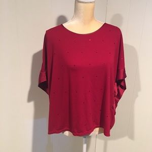 Daisy Fuentes Red Top w/ Beads. Size Large